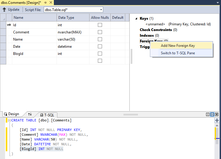 Adding Foreign key in visual studio 2013