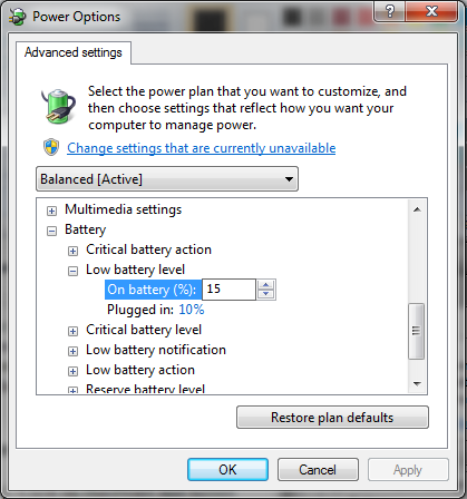 Change Low Battery settings to shutdown in windows