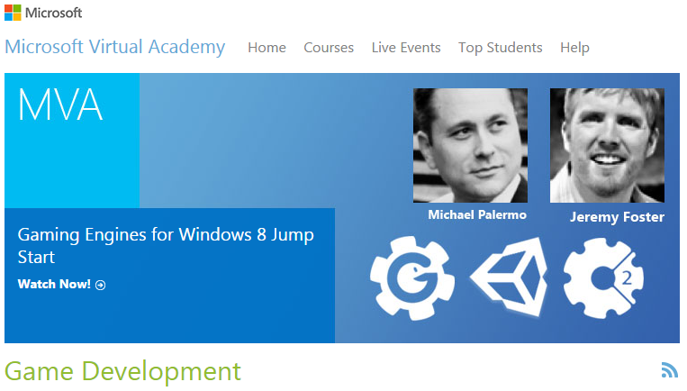 Game development courses offered by microsoft virtual academy