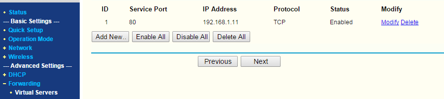 Add a port forword rule similar to this ( Replace IP address with your own)