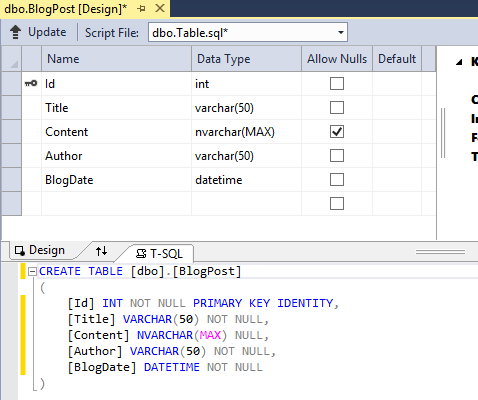 Create a table BlogPost in Visual studio 2013